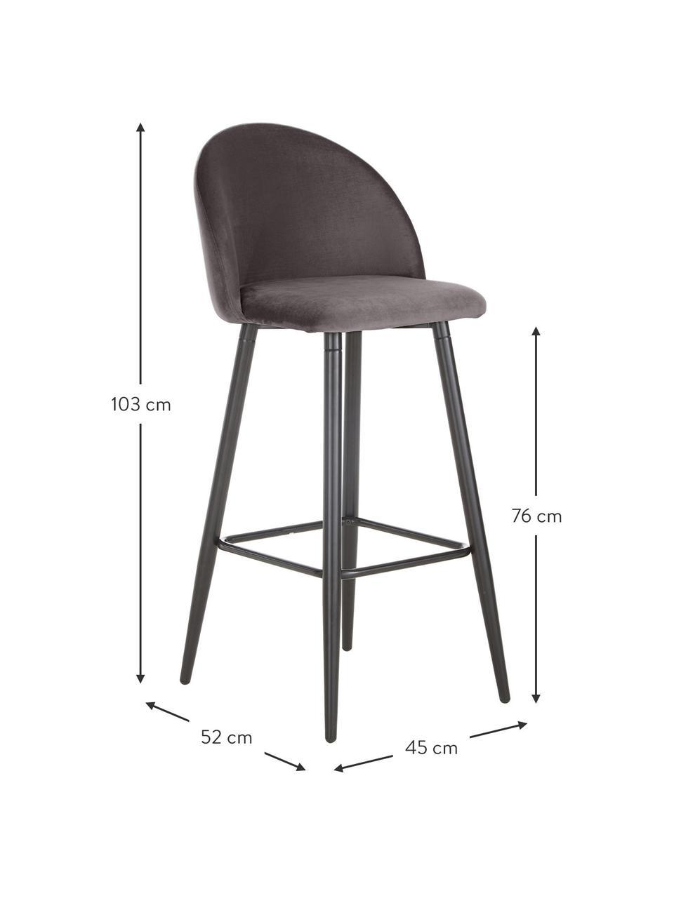 Samt-Barstuhl Amy in Dunkelgrau, Bezug: Samt (Polyester) Der hoch, Beine: Metall, pulverbeschichtet, Samt Grau, 45 x 103 cm
