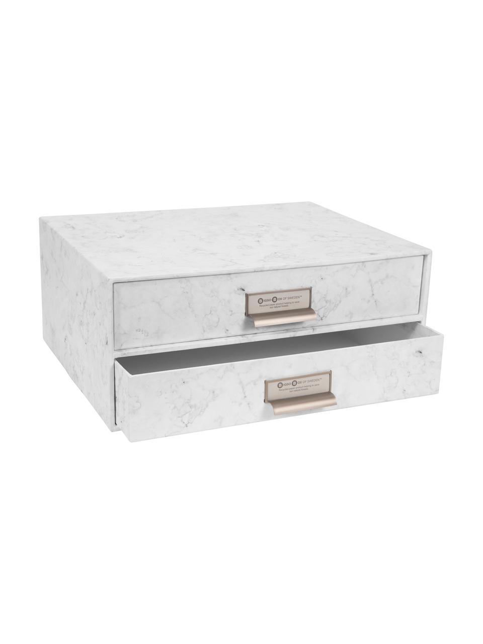 Büro-Organizer Birger, Organizer: Fester, laminierter Karto, Weiß, marmoriert, 33 x 15 cm
