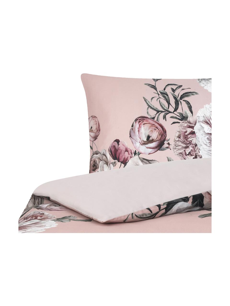 Baumwollsatin-Bettwäsche Blossom mit Blumen-Print, Webart: Satin Fadendichte 210 TC,, Mehrfarbig, Rosa, 135 x 200 cm + 1 Kissen 80 x 80 cm