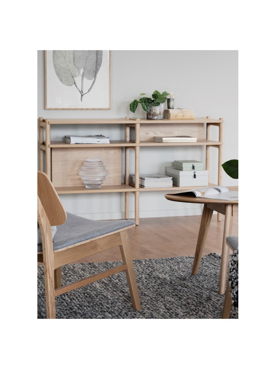Libreria in legno di quercia chiaro Holton, Struttura: legno di quercia massicci, Marrone chiaro, Larg. 140 x Alt. 81 cm