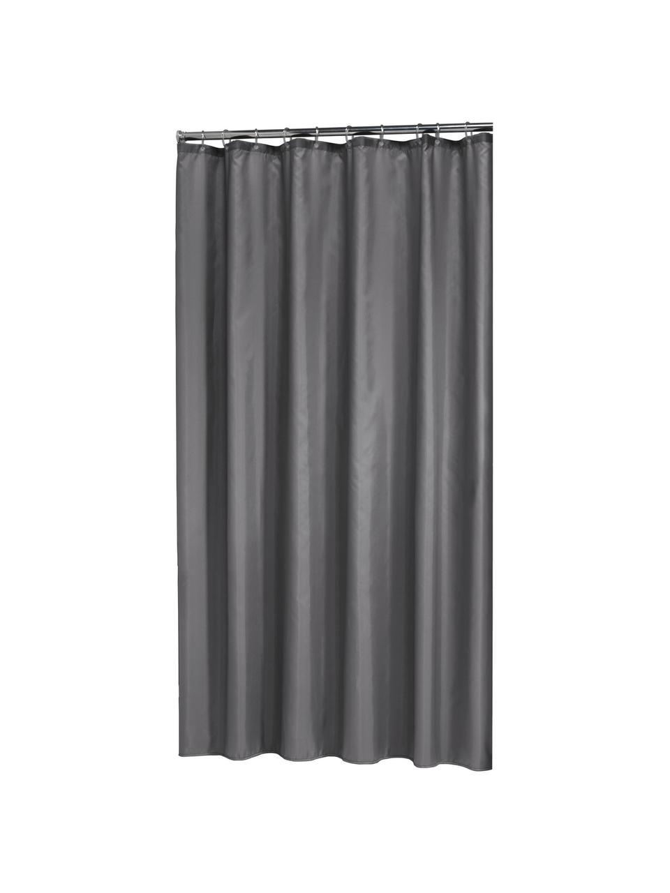 Tenda da doccia grigio scuro Granada, 100% poliestere Idrorepellente non impermeabile, Grigio scuro, Larg. 180 x Lung. 200 cm