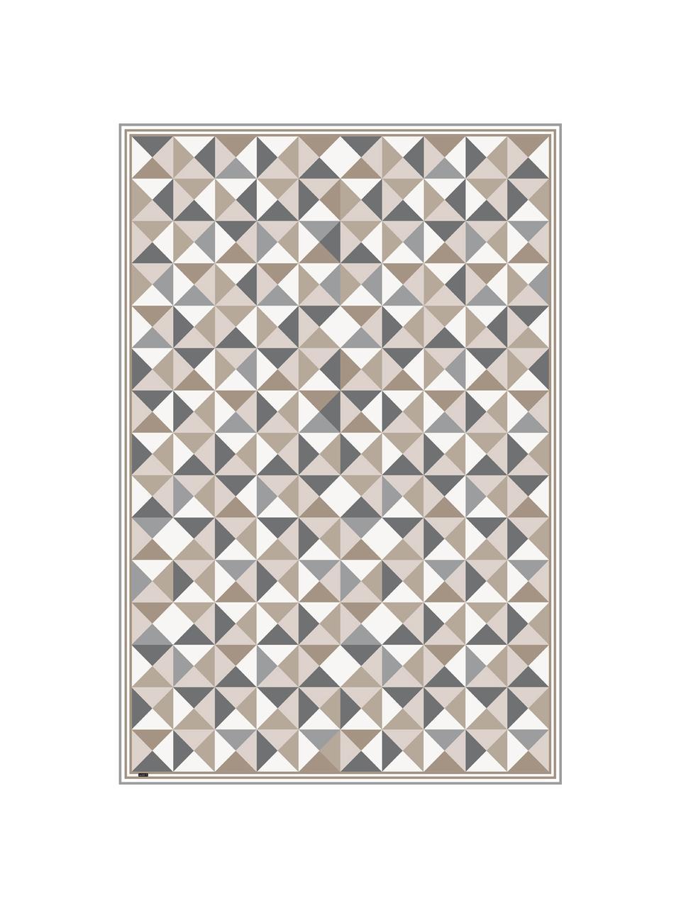 Vlakke vinyl vloermat Haakon in grijs / beige, antislip, Recyclebaar vinyl, Grijstinten, beigetinten, wit, 136 x 203 cm