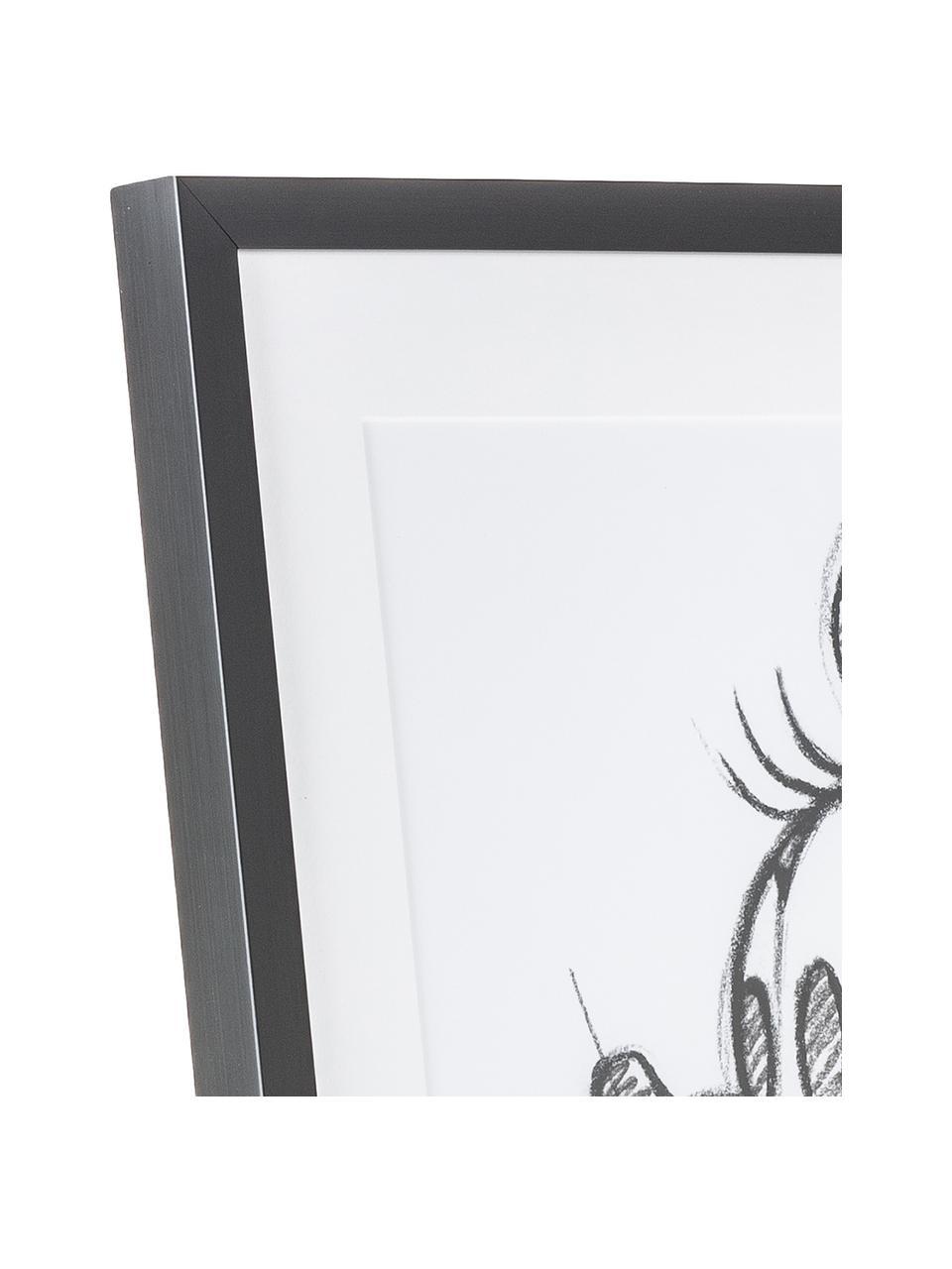 Gerahmter Digitaldruck Minnie, Bild: Digitaldruck, Rahmen: Kunststoff, Front: Glas, Weiß, Schwarz, 50 x 70 cm