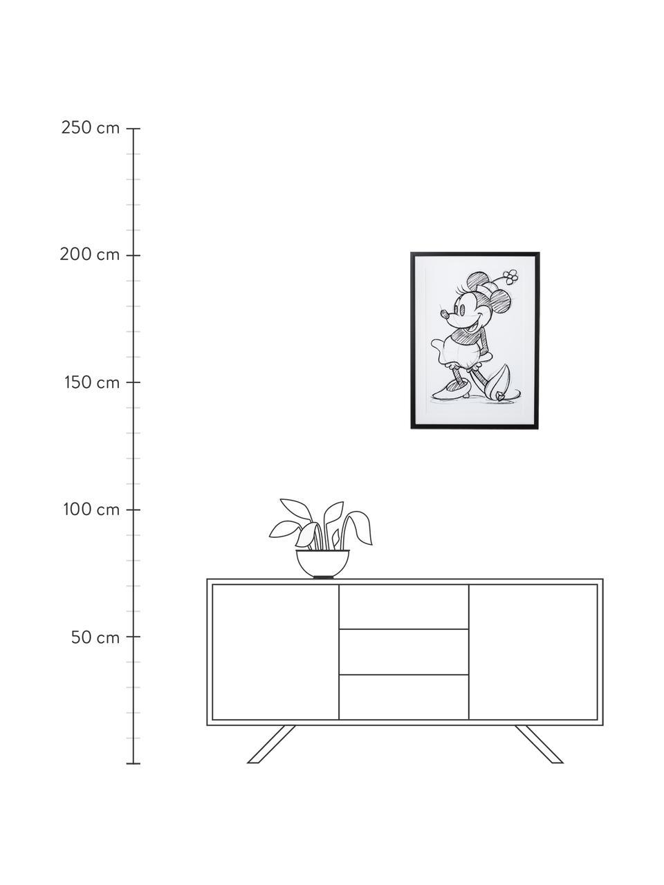 Stampa digitale incorniciata Minnie, Immagine: stampa digitale, Cornice: materiale sintetico, Bianco, nero, L 50 x A 70 cm
