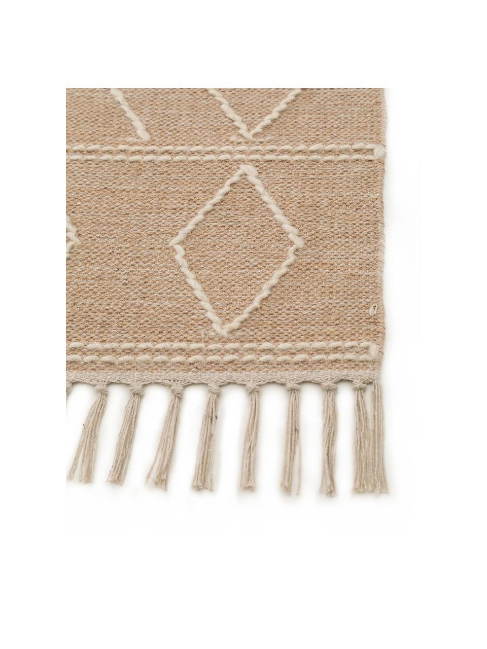 Ręcznie tkany dywan w stylu boho z frędzlami Sydney, 60% bawełna, 40% wełna, Beżowy, kremowy, S 120 x D 170 cm (Rozmiar S)
