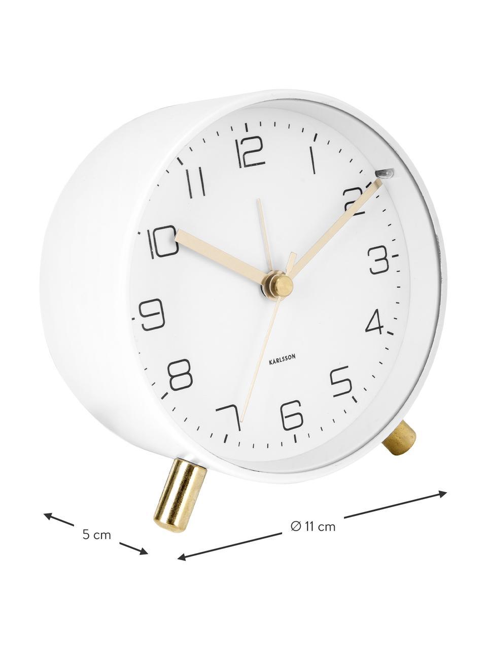 Budzik Lofty, Metal lakierowany, Biały, Ø 11 x G 5 cm