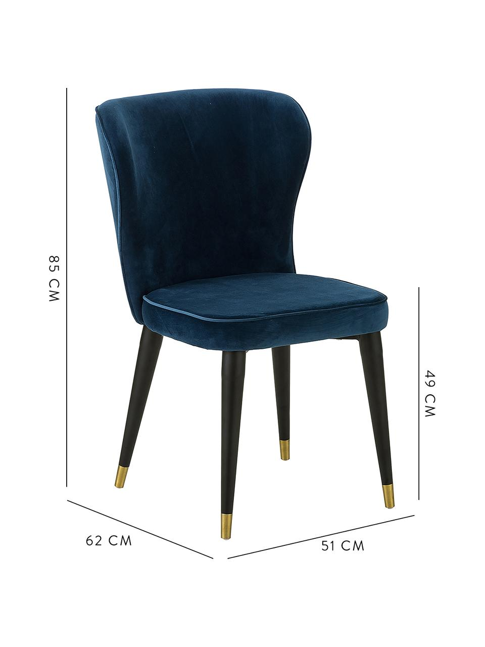 Krzesło tapicerowane z aksamitu Cleo, Tapicerka: aksamit (poliester) Dzięk, Nogi: metal lakierowany, Ciemny niebieski, S 51 x G 62 cm