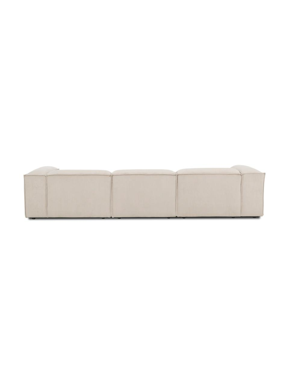 Modulaire hoekbank Lennon in beige van corduroy, Bekleding: corduroy (92% polyester, , Frame: massief grenenhout, multi, Poten: kunststof De poten bevind, Corduroy beige, B 327 x D 180 cm