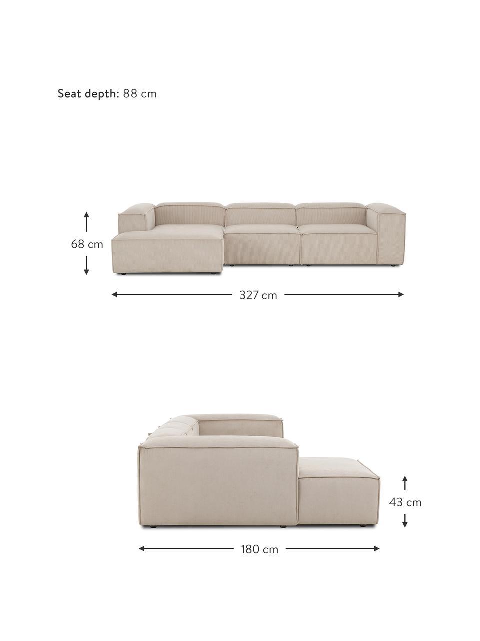 Narożna sofa modułowa ze sztruksu Lennon, Tapicerka: sztruks (92% poliester, 8, Stelaż: lite drewno sosnowe, skle, Nogi: tworzywo sztuczne Nogi zn, Sztruksowy beżowy, S 327 x G 180 cm