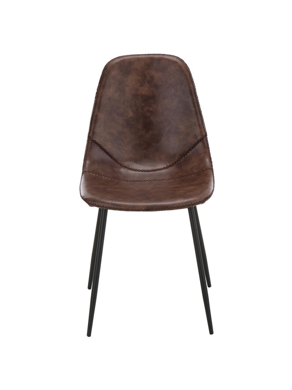 Krzesło tapicerowane ze sztucznej skóry  Linus, 2 szt., Tapicerka: sztuczna skóra (65% polie, Nogi: metal malowany proszkowo, Brązowy, S 41 x G 53 cm
