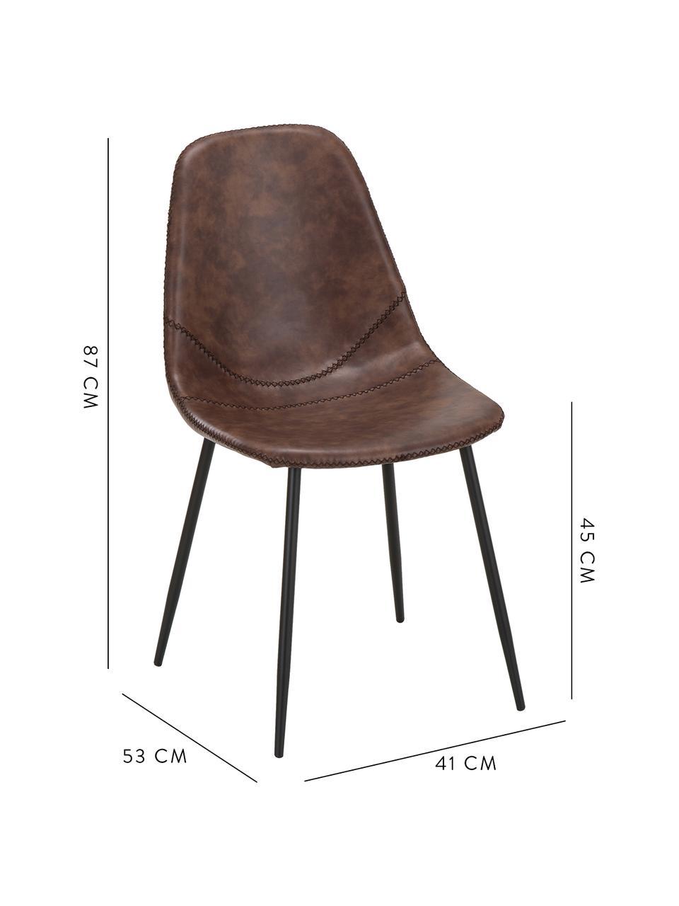 Imitatieleren gestoffeerde stoelen Linus, 2 stuks, Bekleding: kunstleer (65% polyethyle, Poten: gepoedercoat metaal, Bruin, B 41  x D 53 cm