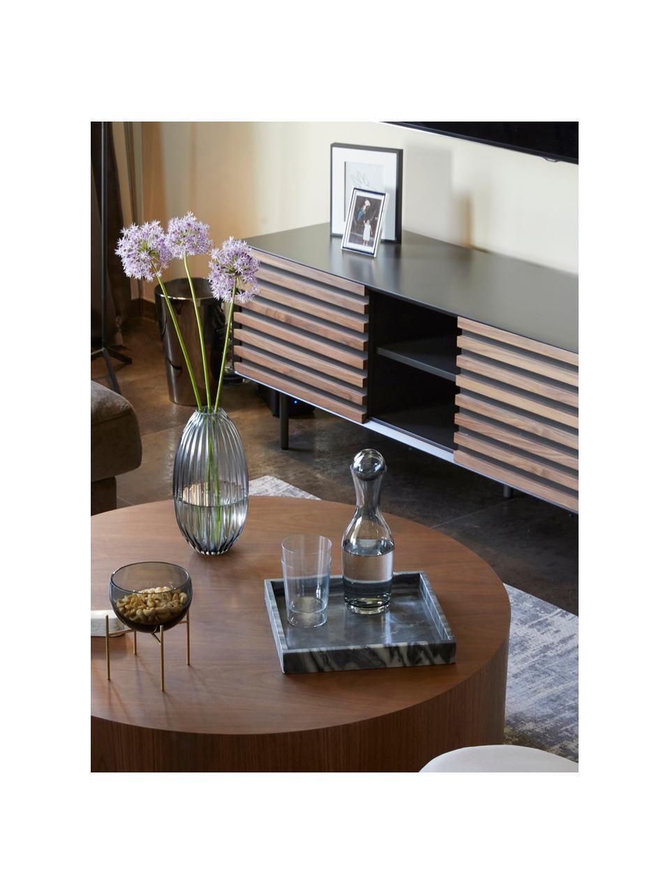 Szafka RTV z fornirem z drewna orzecha włoskiego Kesia, Grafitowy, drewno orzecha włoskiego, S 162 x W 58 cm