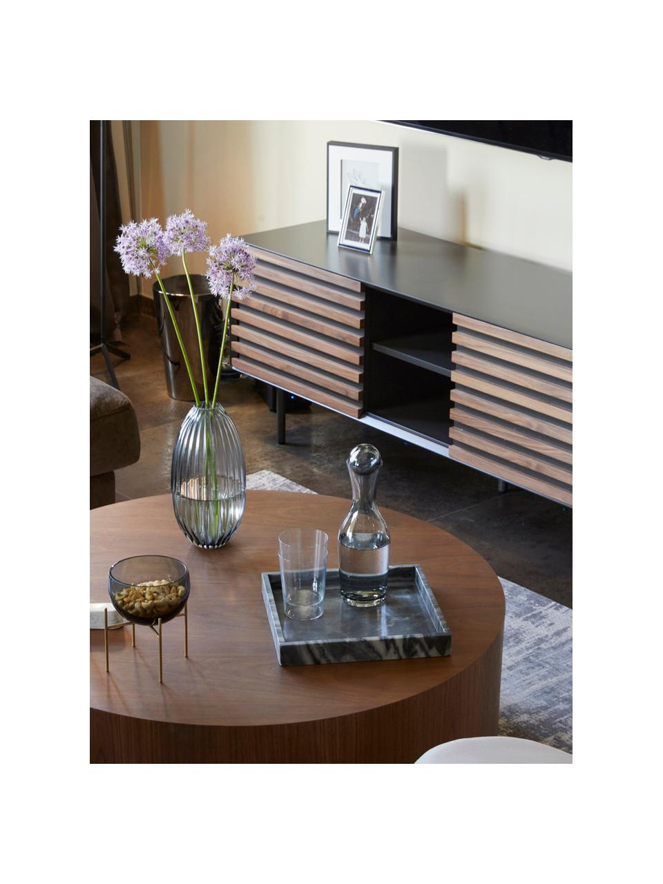 TV-Lowboard Kesia mit Türen aus Walnussfurnier, Graphit, Walnussholz, 162 x 58 cm