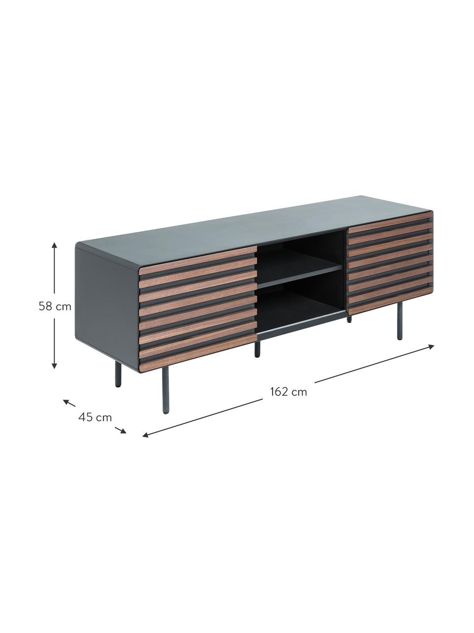 Mobile TV con ante in finitura di noce Kesia, Grafite, legno di noce, Larg. 162 x Alt. 58 cm