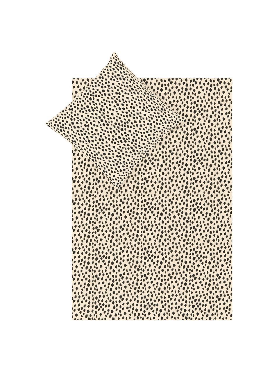 Pościel z bawełny Go Wild, 100% bawełna   Produkt wykonany jest z bawełny, która jest przyjemnie miękka dla skóry, dobrze wchłania wilgoć i jest odpowiednia dla alergików, Beżowy,czarny, 135 x 200 cm + 1 poduszka 80 x 80 cm
