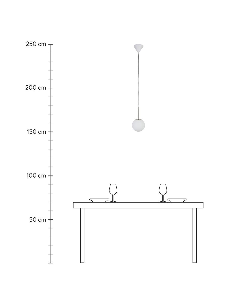 Lampada a sospensione in vetro opale Cafe, Paralume: bianco, Decorazione: metallo, Baldacchino: materiale sintetico, Bianco, argentato, Ø 20 x Alt. 33 cm