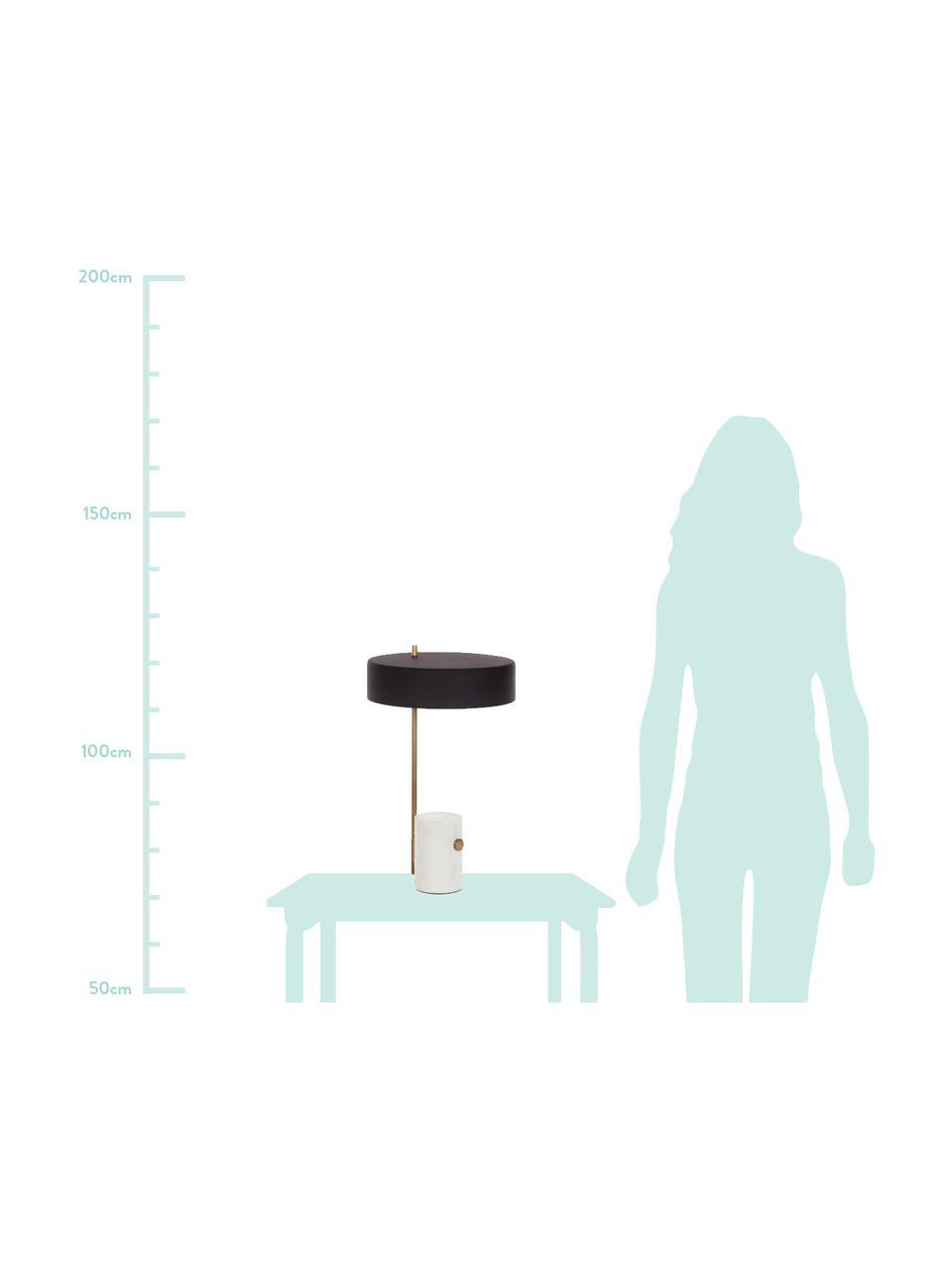 Grote tafellamp Phant met marmeren voet, Lampenkap: gecoat metaal, Lampvoet: marmer, Wit, zwart, 30 x 53 cm
