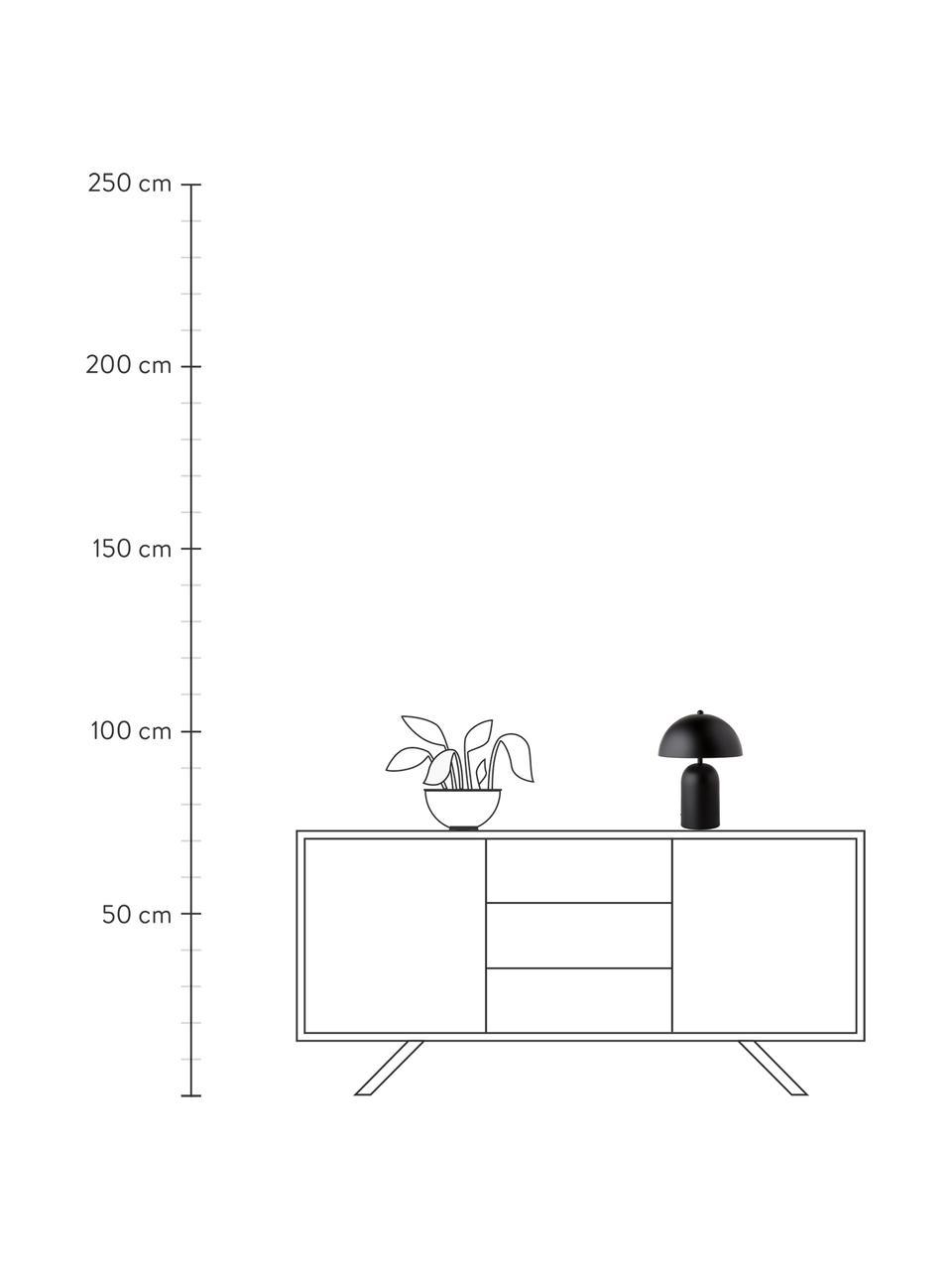 Kleine retro tafellamp Walter in zwart, Lampenkap: metaal, Lampvoet: metaal, Mat zwart, Ø 25 x H 33 cm