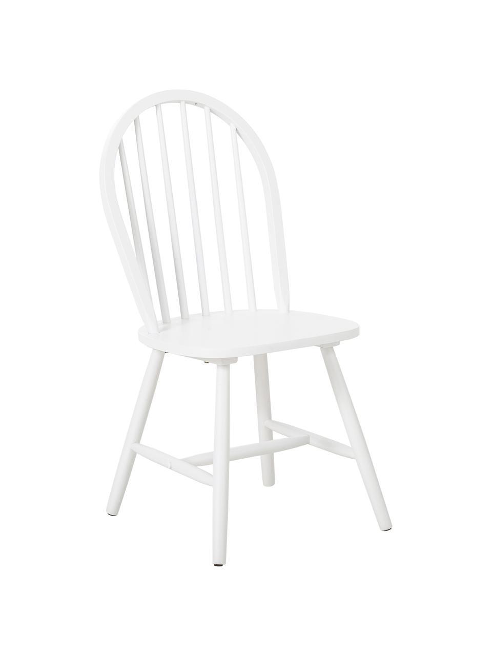 Windsor-Holzstühle Megan aus Holz, 2 Stück, Kautschukholz, lackiert, Weiß, B 46 x T 51 cm