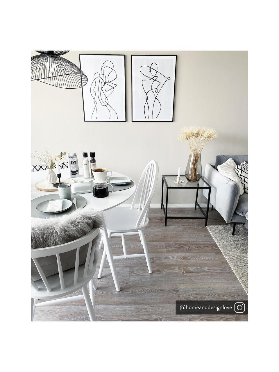 Houten Windsor stoelen Megan, 2 stuks, Gelakt rubberhout, Wit, B 46 x D 51 cm