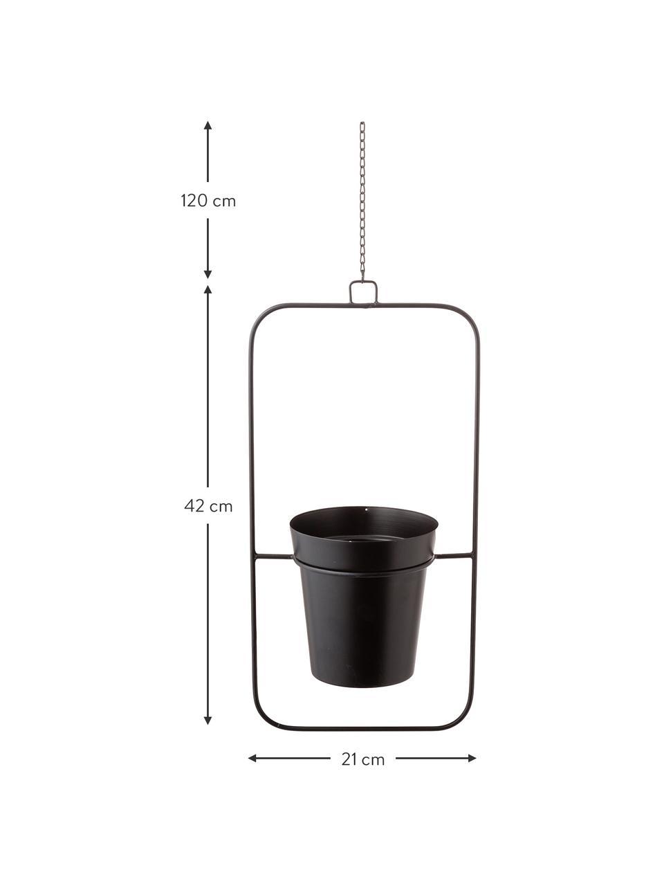 Grote hangende plantenpot Undine van metaal, Gelakt metaal, Zwart, 21 x 42 cm