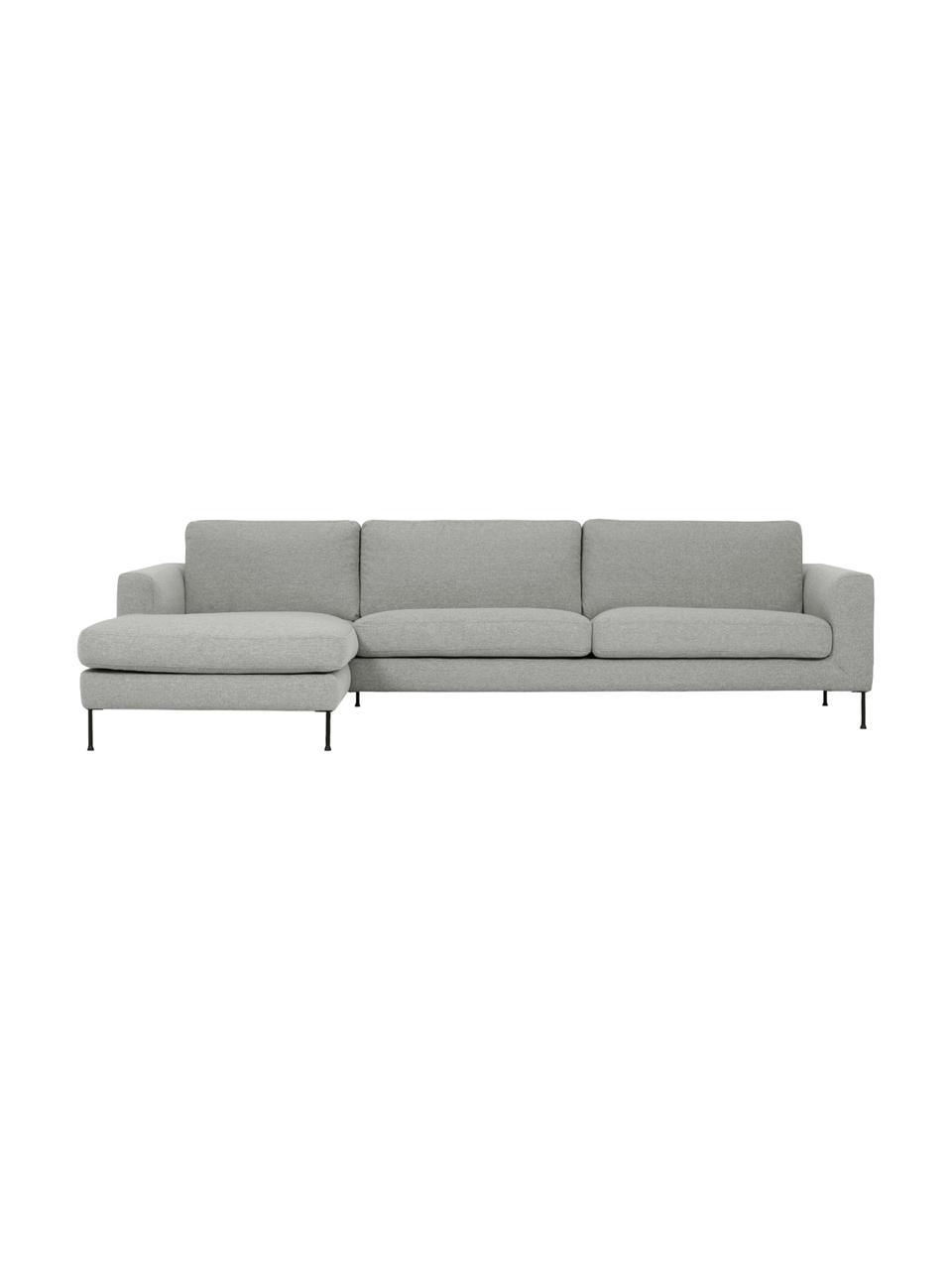 Canapé d'angle 4places gris clair Cucita, Tissu gris