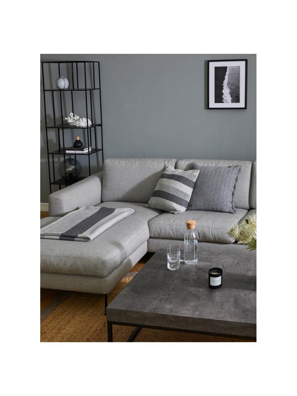 Sofa narożna z metalowymi nogami Cucita (4-osobowa), Tapicerka: tkanina (poliester) Dzięk, Nogi: metal lakierowany, Szary, S 302 x G 163 cm