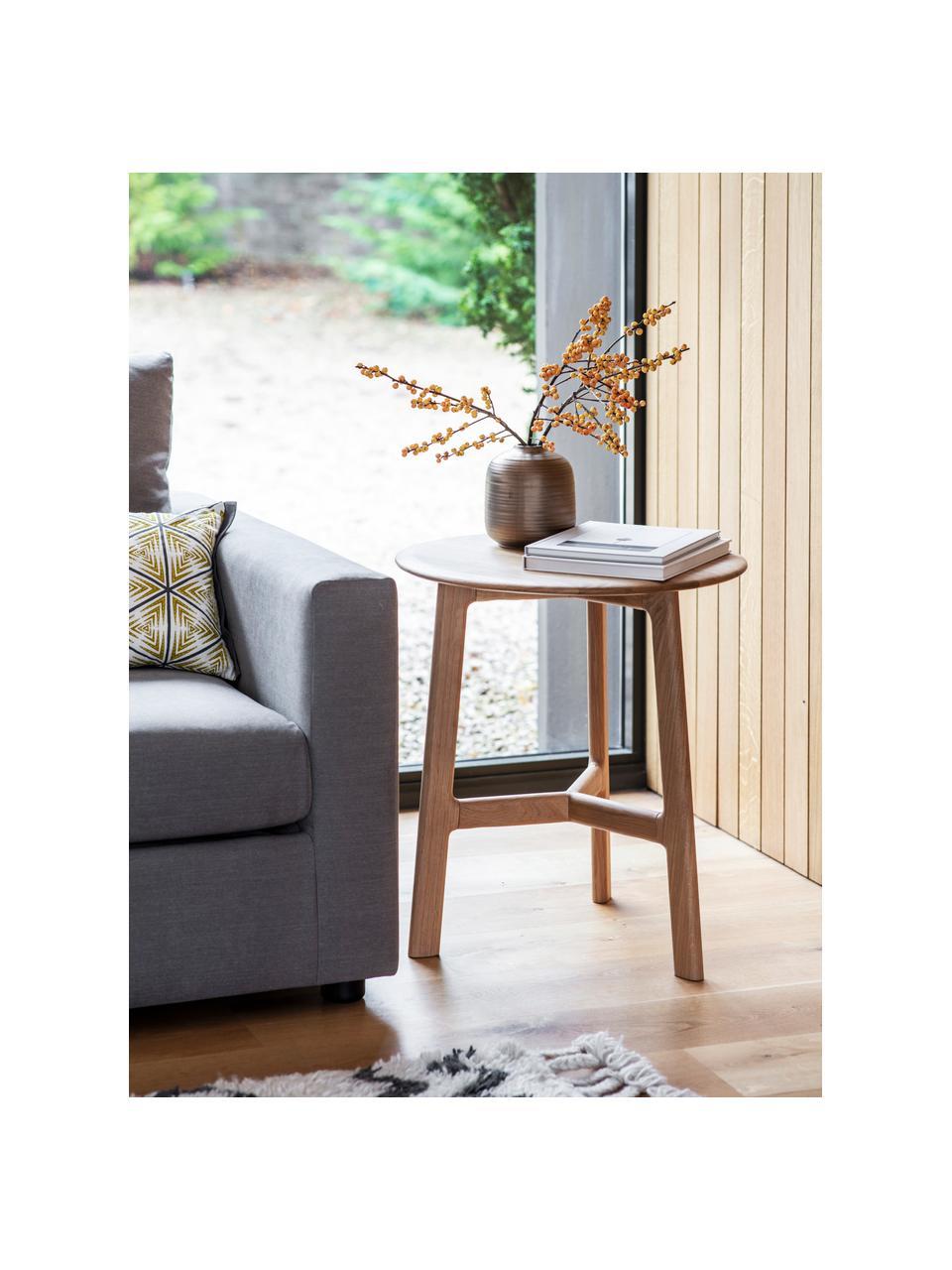 Okrągły stolik pomocniczy z drewna dębowego Madrid, Lite drewno dębowe, Drewno dębowe, Ø 50 x W 58 cm