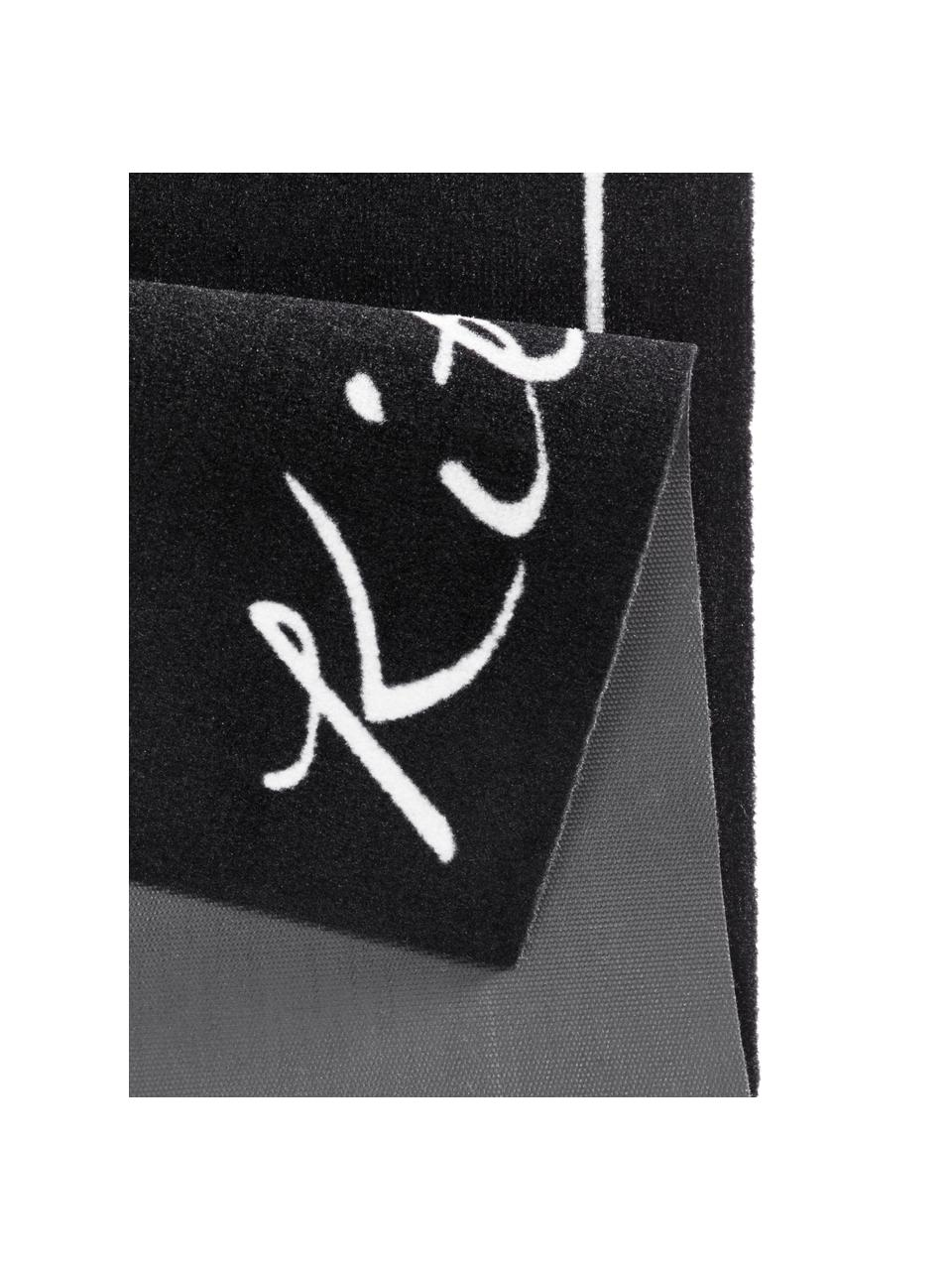 Tapis de couloir antidérapant Kitchen, Noir, blanc