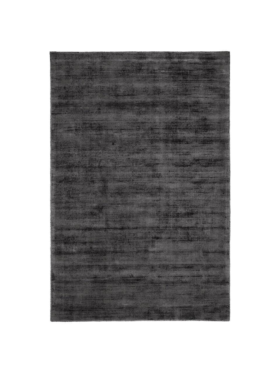 Handgeweven viscose vloerkleed Jane in antraciet-zwart, Bovenzijde: 100% viscose, Onderzijde: 100% katoen, Antraciet-zwart, B 160 x L 230 cm (maat M)