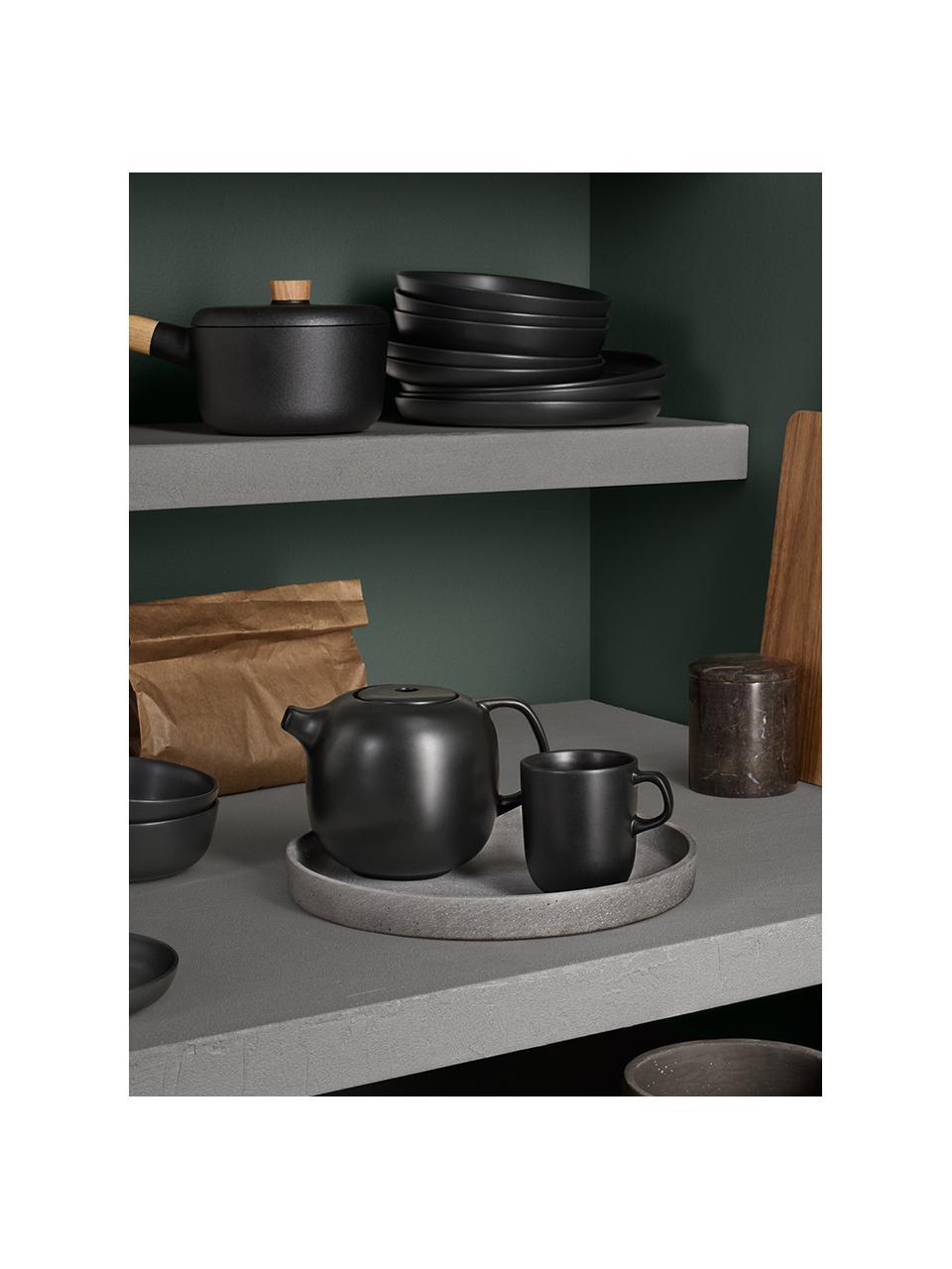 Talerz śniadaniowy Nordic Kitchen, 4 szt., Kamionka, Czarny, matowy, Ø 21 cm