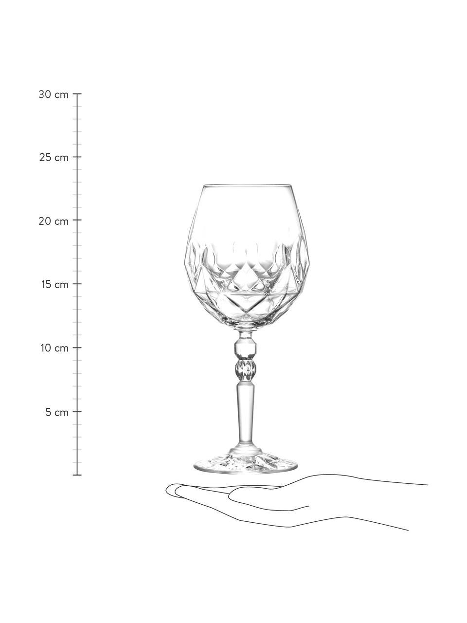 Kristall-Rotweingläser Calicia mit Relief, 6 Stück, Luxion-Kristallglas, Transparent, Ø 10 x H 23 cm