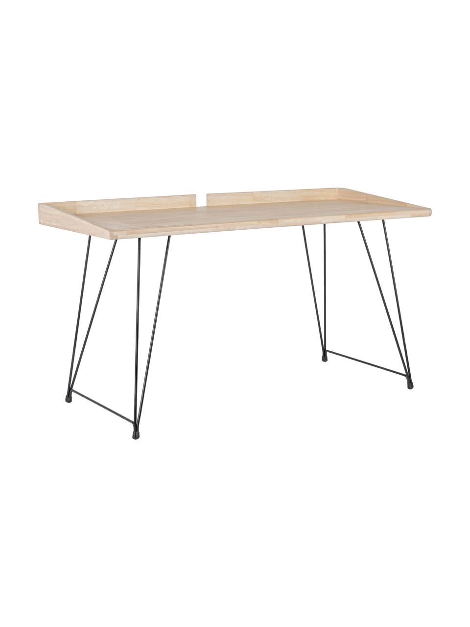 Scrivania industrail District, Piano d'appoggio: legno di caucciù, Gambe: acciaio verniciato, Marrone, Larg. 142 x Prof. 61 cm