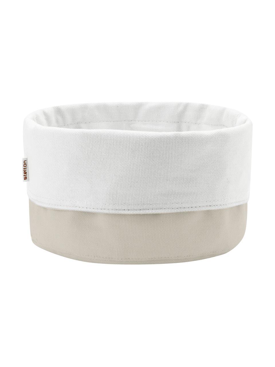 Cestino per pane in lino Oleg, 100% cotone lino, Color sabbia, bianco, Ø 23 x Alt. 21 cm