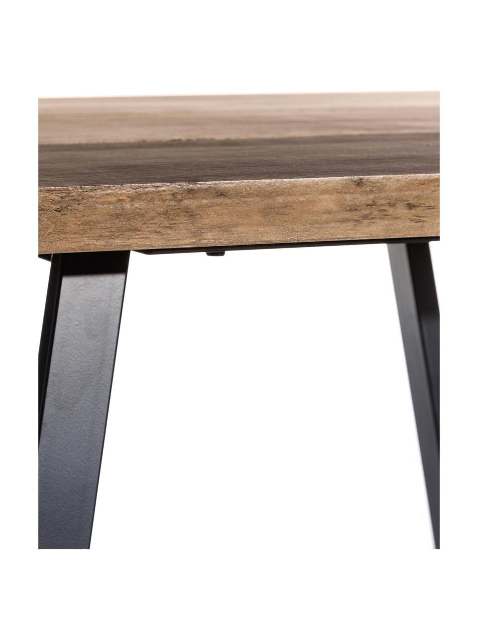 Eettafel Dinni, Tafelblad: MDF, Poten: gecoat metaal, Bruin, zwart, 160 x 90 cm