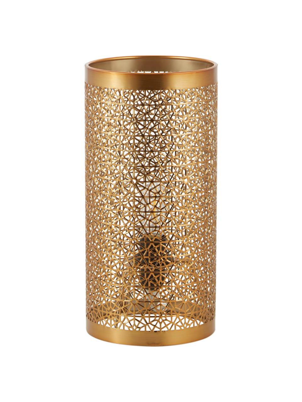 Kleine Boho-Tischlampe Hermine aus Metall, Lampenschirm: Messing, Messing, matt, Ø 14 x H 28 cm