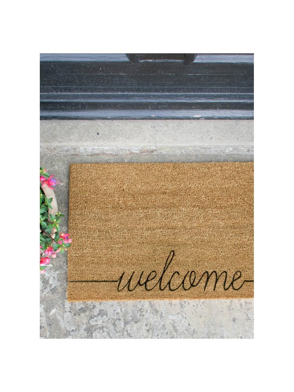 Fußmatte Welcome, Kokosfaser, Fußmatte: Beige, Schriftzug: Schwarz, 40 x 60 cm