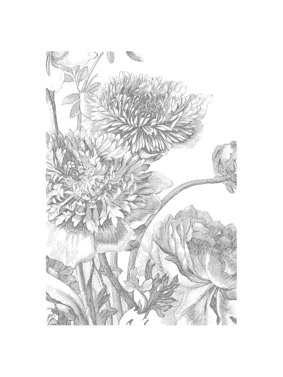 Carta da parati Engraved Flowers, Tessuto non tessuto, ecologico e biodegradabile, Grigio, bianco, Larg. 389 x Alt. 280 cm