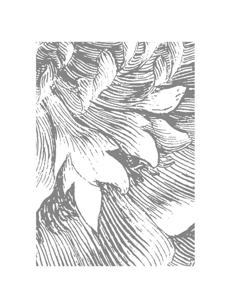 Papier peint photo Engraved Flowers, Gris, blanc