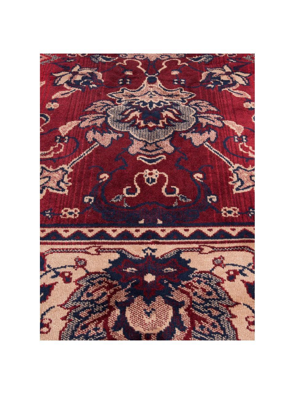 Teppich Bid mit Blumenmuster im Orient Style, Flor: 38% Viskose, 26% Baumwoll, Teppich: Rot- und BeigetöneFransen: Beige, B 170 x L 240 cm (Größe M)
