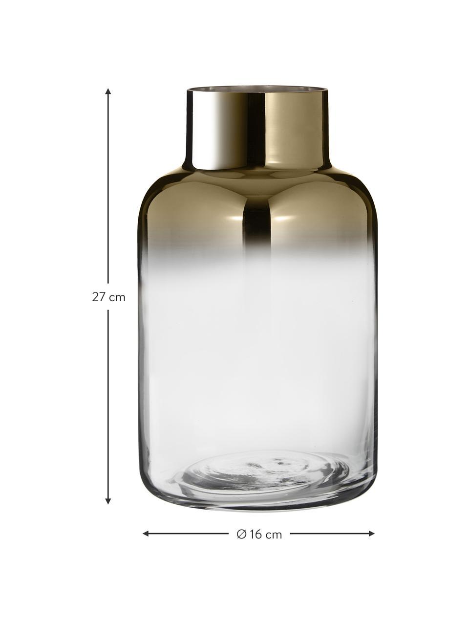 Mundgeblasene Glasvase Uma, Glas, Transparent, Goldfarben, Ø 16 x H 27 cm
