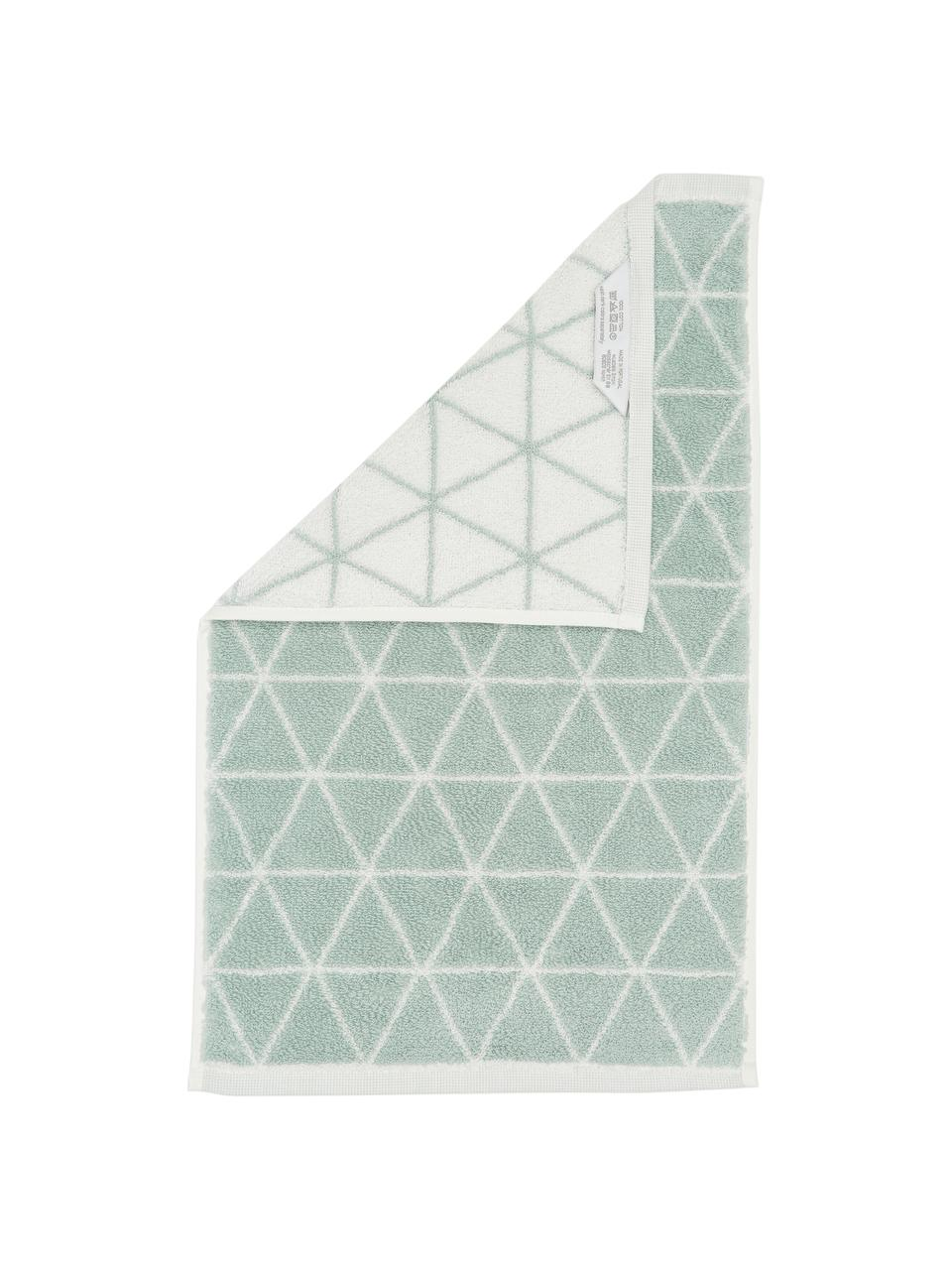 Serviette de toilette réversible en coton pur Elina, Vert menthe, blanc crème