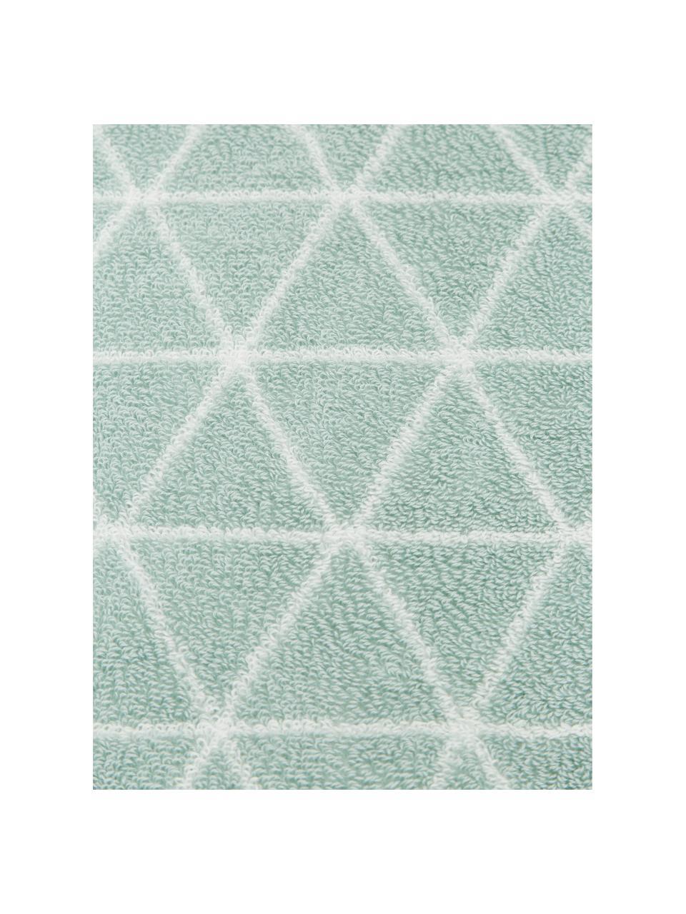 Wende-Handtuch Elina mit grafischem Muster, 100% Baumwolle, mittelschwere Qualität 550 g/m², Mintgrün, Cremeweiß, Gästehandtuch
