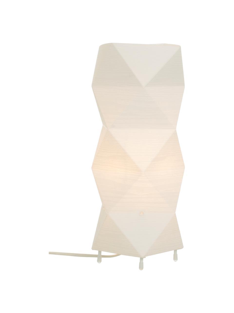 Moderne Tischlampe Veck mit 3D-Effekt, Lampenschirm: Kunststoff, Weiß, 16 x 37 cm