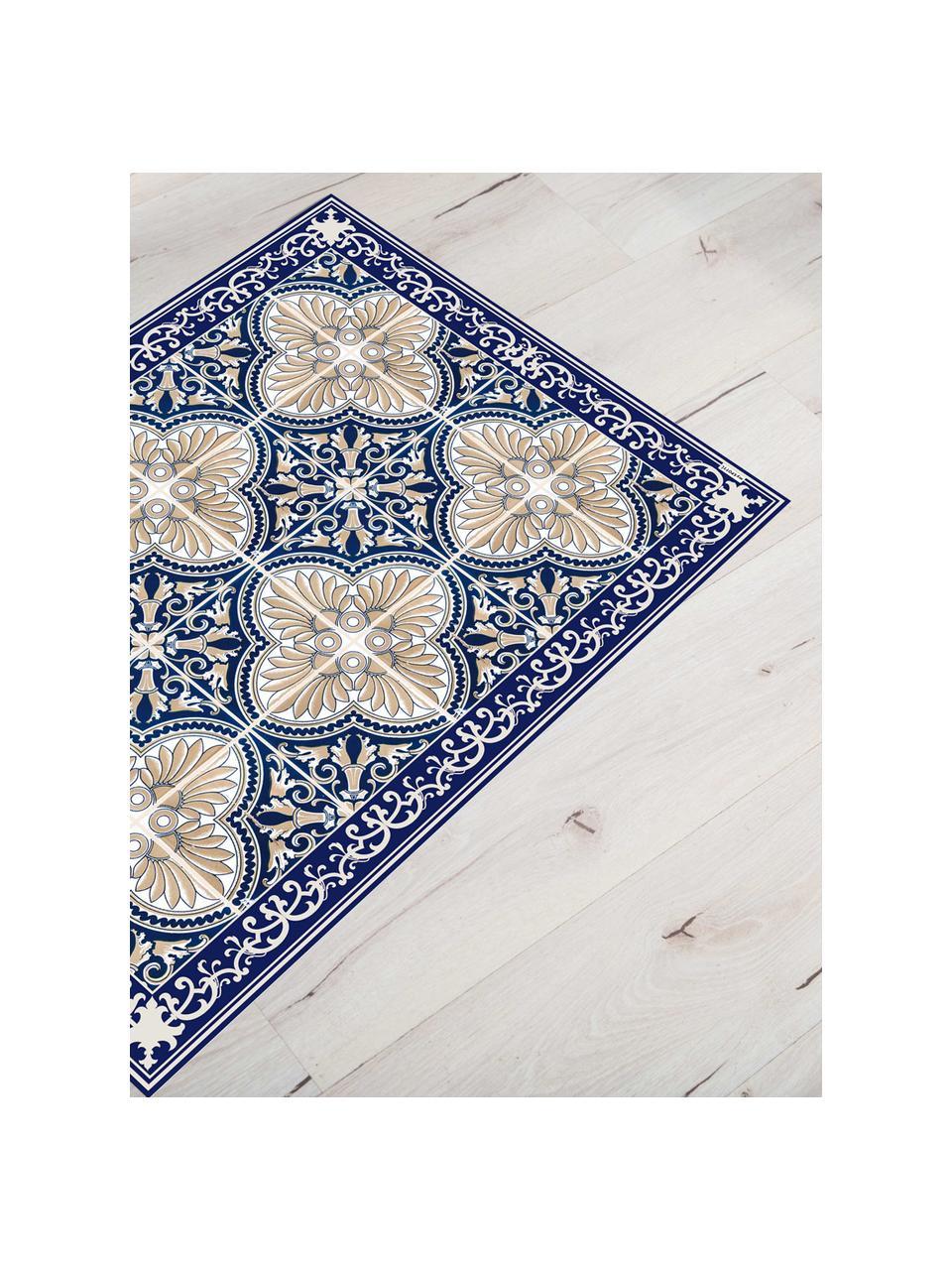 Vlakke vinyl vloermat Luis in blauw / beige, antislip, Recyclebaar vinyl, Blauw, beige, 136 x 203 cm