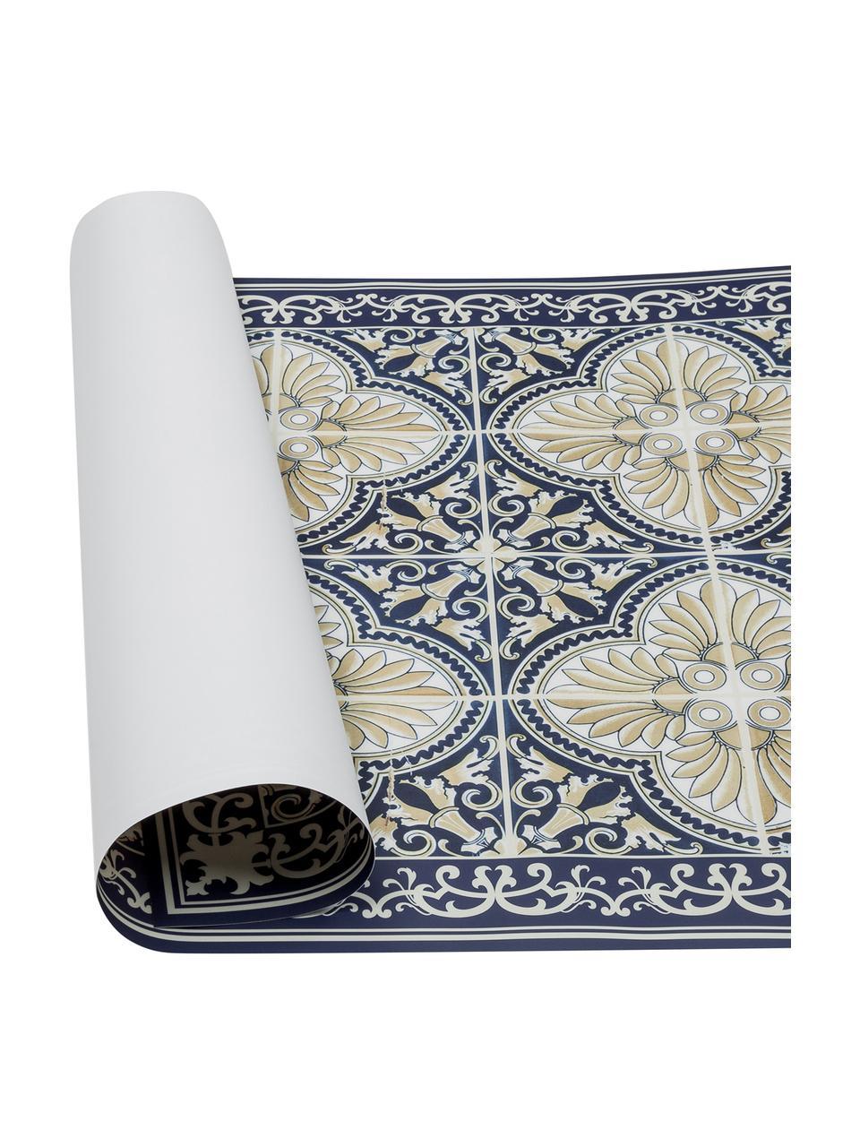 Tapis antidérapant intérieur extérieur en vinyle Luis, Bleu, beige