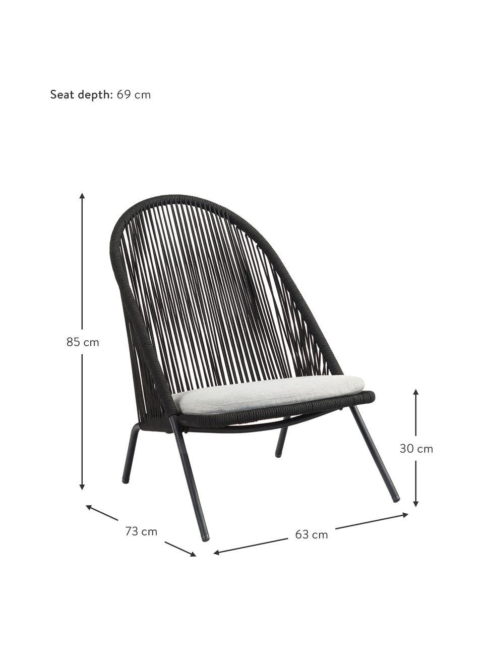 Sessel Shann mit Kunstgeflecht, Sitzfläche: Polyethylen-Geflecht, Gestell: Metall, pulverbeschichtet, Schwarz, Hellgrau, B 63 x T 73 cm