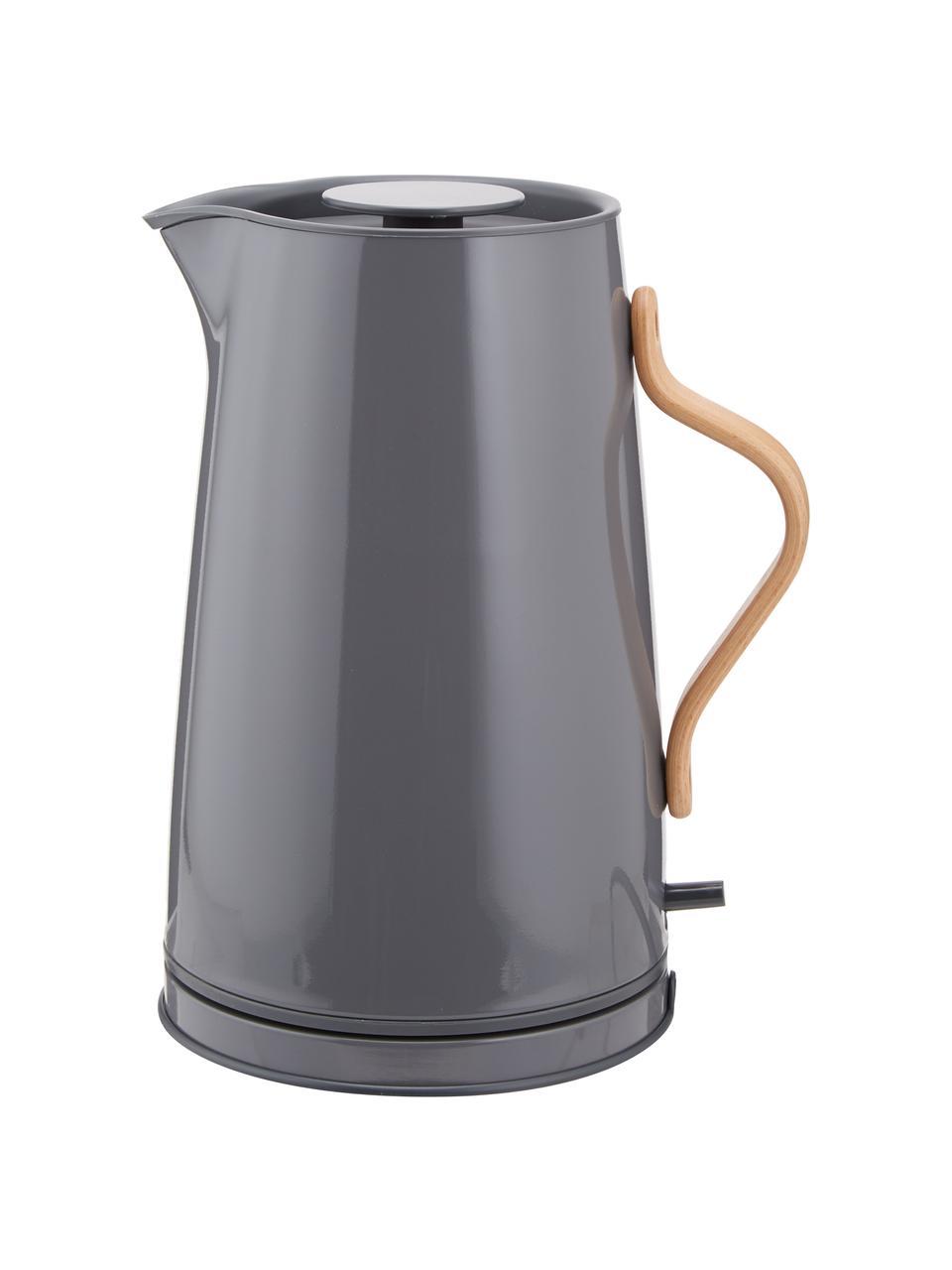 Wasserkocher Emma in Grau glänzend, Korpus: Edelstahl, Beschichtung: Emaille, Griff: Buchenholz, Grau, 1.2 L