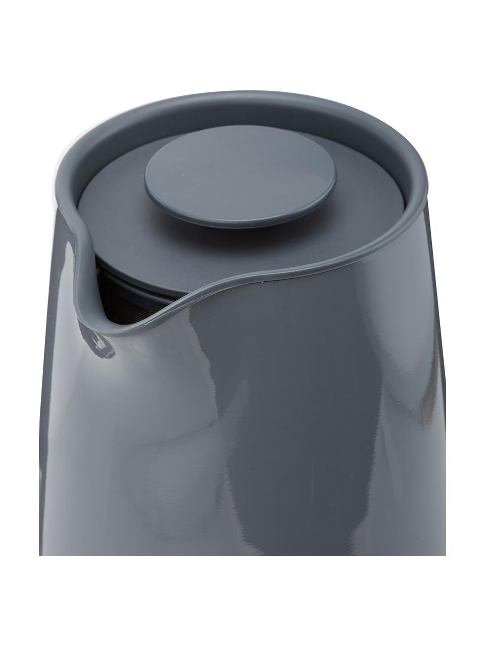 Bollitore elettrico grigio lucido Emma, Rivestimento: smalto, Manico: legno di faggio, Grigio, 1,2 L