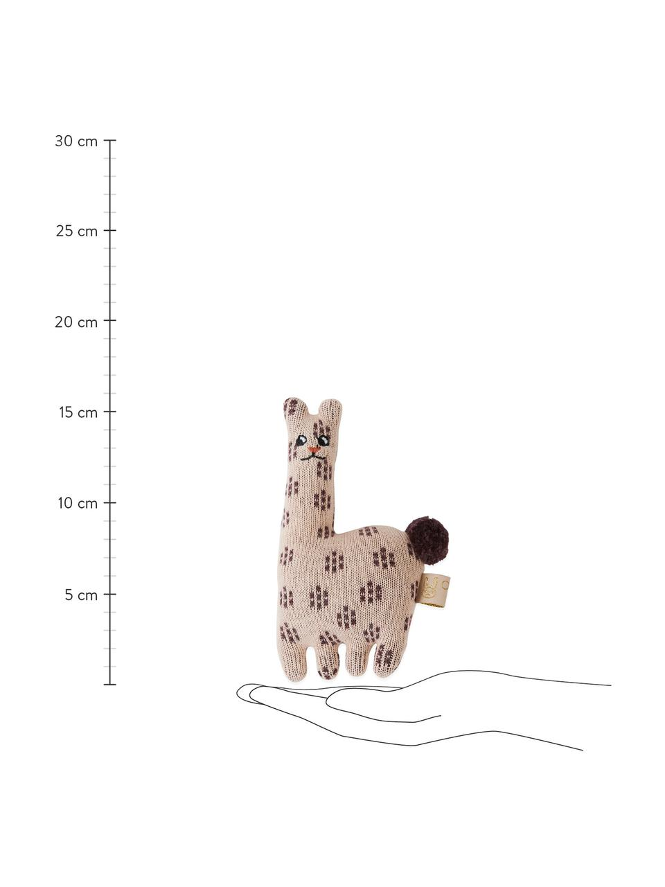 Rassel Lama, Baumwolle, Rosa, Braun, 10 x 16 cm